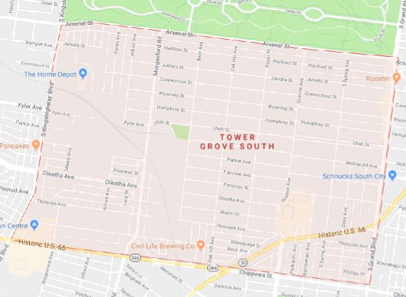 Google maps - Tower Grove South