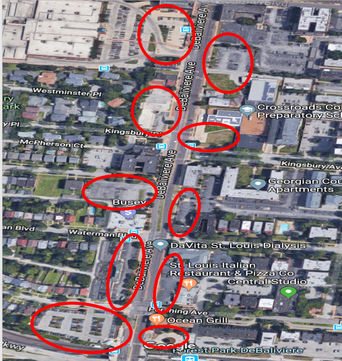 Red circled areas: surface lots and green space fronting DeBaliviere Avenue