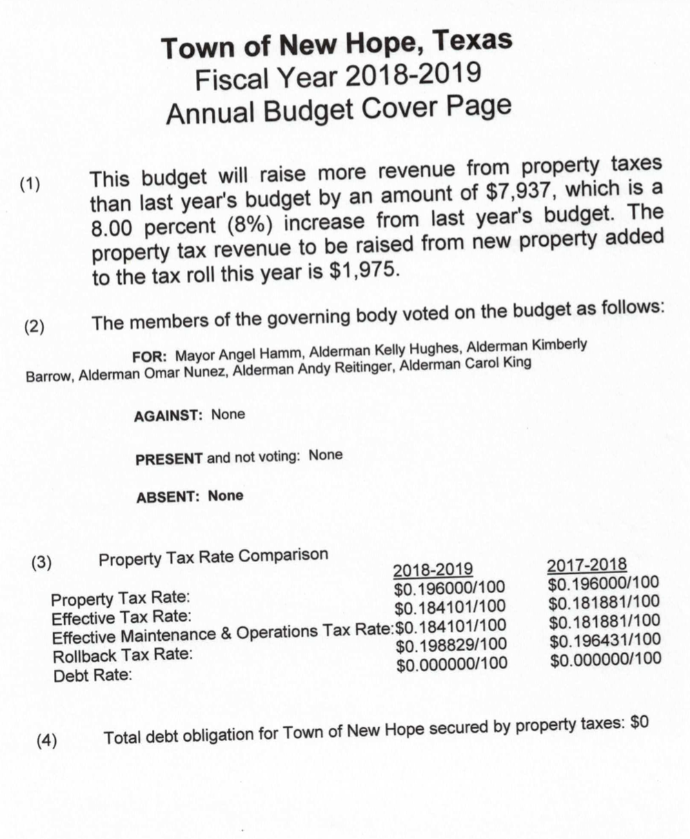 new hope annual budget for fiscal year 2018 2019 new hope