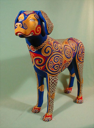 2006: Celtic Hound, life-size commercial resin cast. Commission for Lombard Town Centre, auction won by Carlson Paint & Art Co., Wheaton IL
