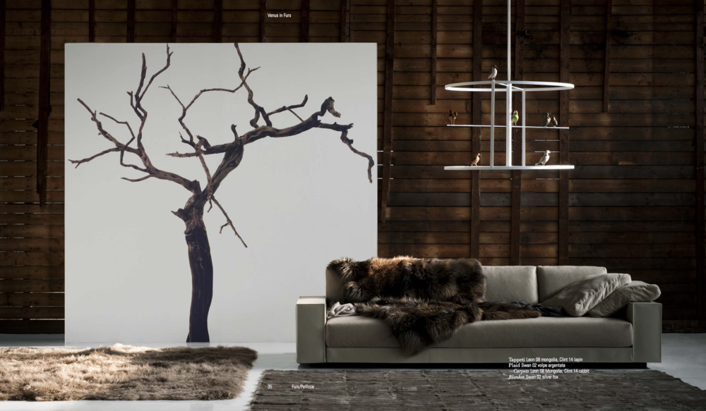 You and Me Sofa; Leon and Clint Fur Rugs  - Inquire