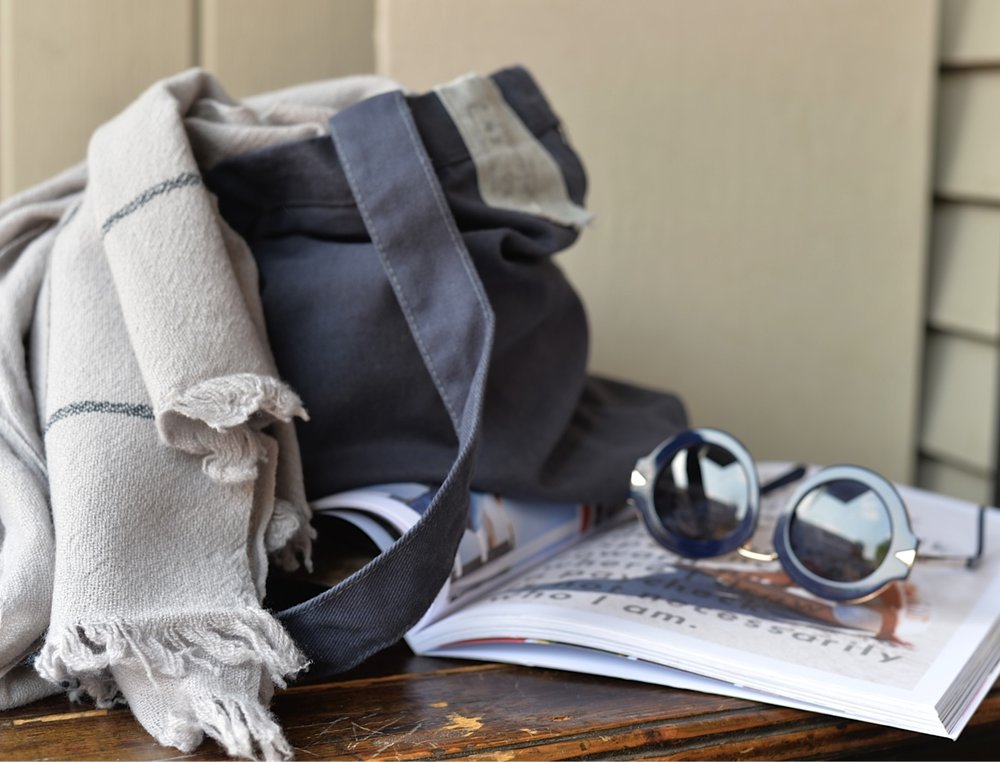 White Stripe Cashmere Scarf in Grey Cloth Bag  - Inquire