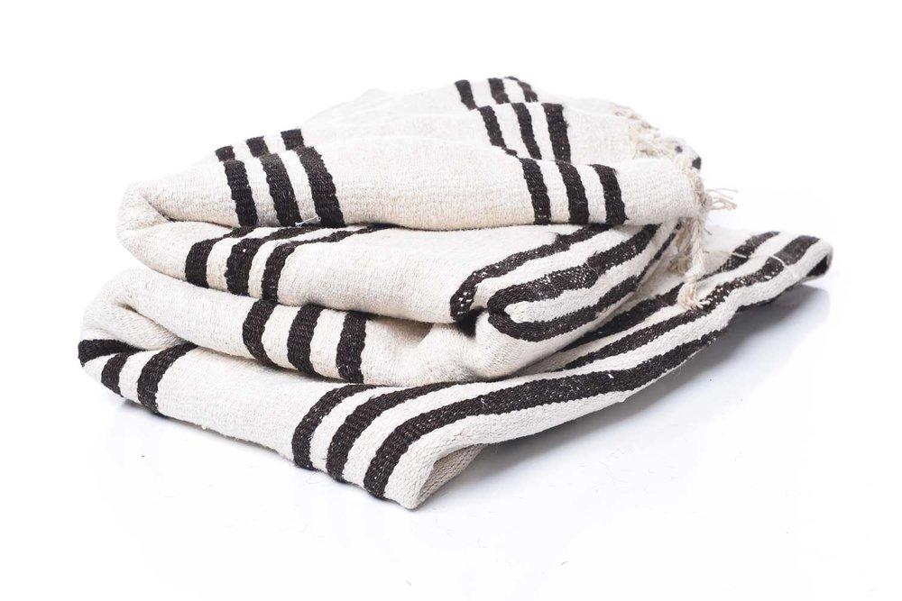 White Stripe Vintage Hemp Rug  - Inquire