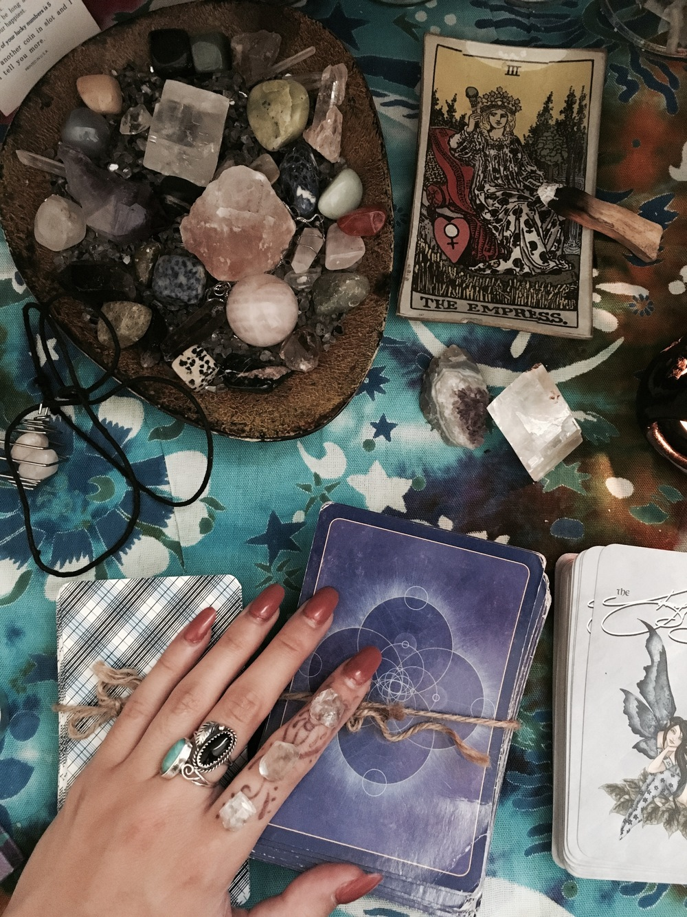 With tonight being the full moon in Capricorn, it's time to prep crystals and tarot decks of the trade. Everyone has different rituals they use when cleansing which is what makes this process so unique. The most important thing is to know your intentions, as you are transferring your energy into the items you are cleansing. This full moon calls for long-term intentions.