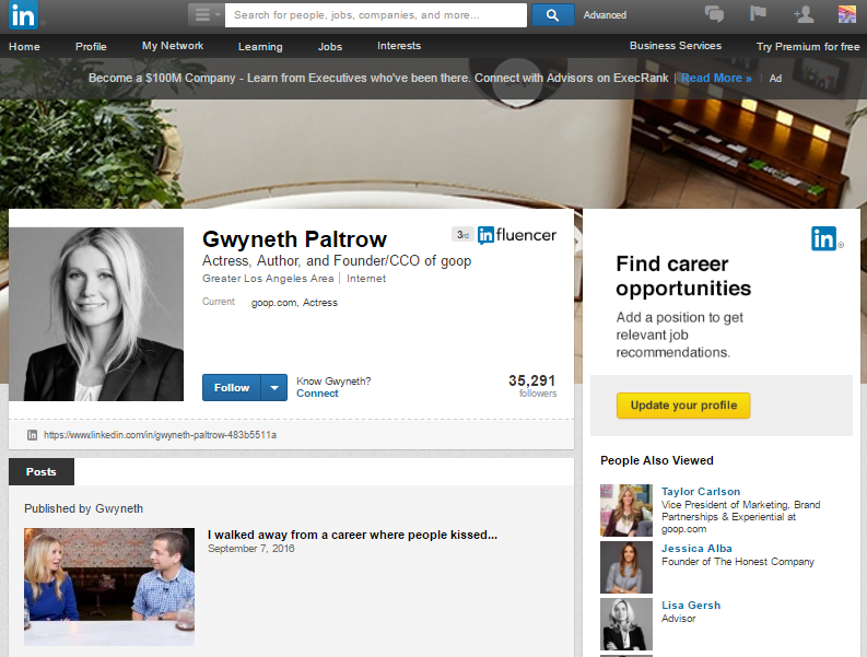 Gwyneth Patlrow LinkedIn