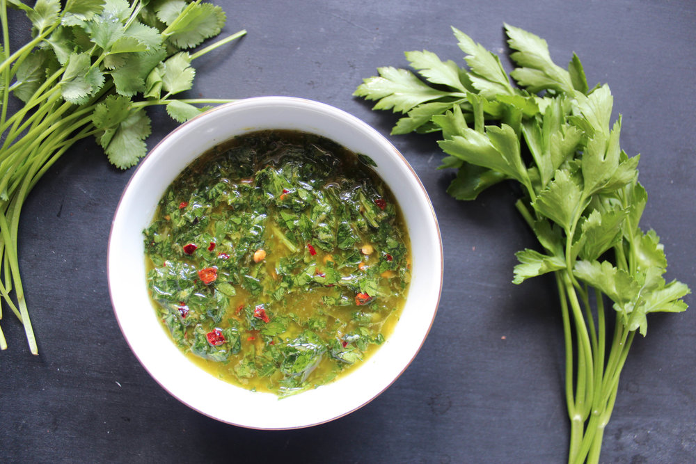 Make a big batch of this chimichurri sauce and use it for everything from steaks, to eggs or just on top of toast.