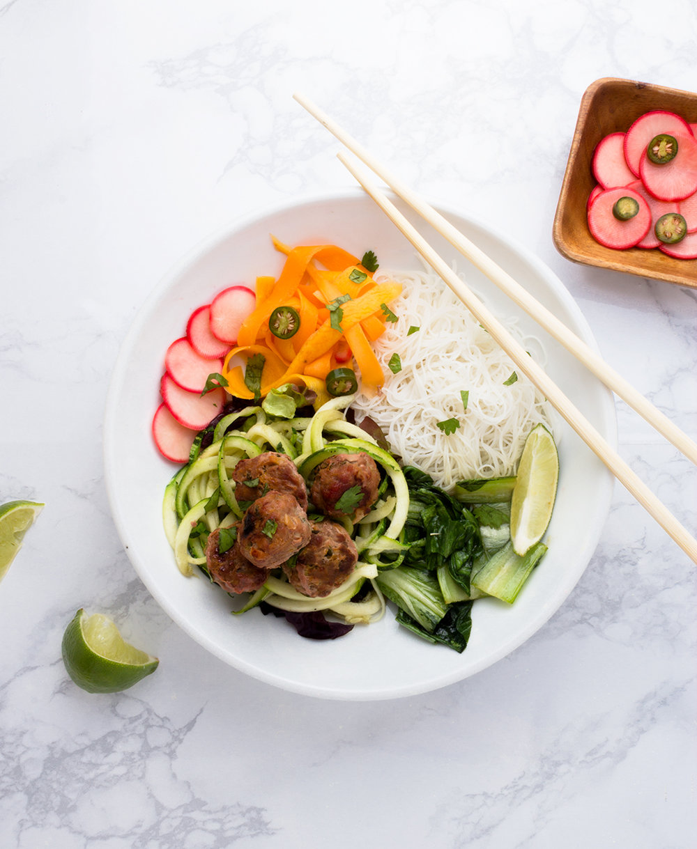 Build it how you want! Choose different ingredients to build your ideal Banh Mi Meatball Bowl.