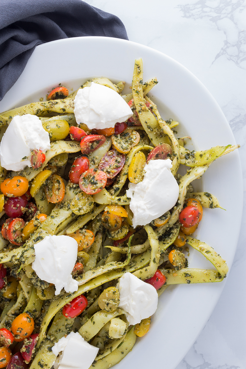 pesto-romano-bean-and-cherry-tomato-salad-with-burrata-cheese