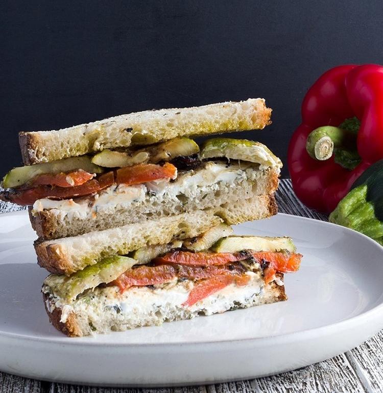 Grilled Vegetable Sandwich with Garlic & Herb Chèvre