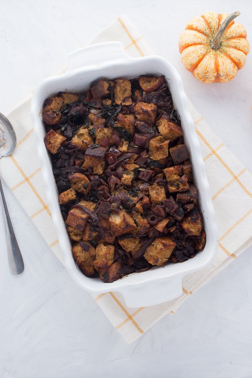 Whether you call it stuffing or dressing, this classic holiday side dish gets upgraded with seasonal ingredients in this Caramelized Red Onion & Date Sourdough Stuffing.