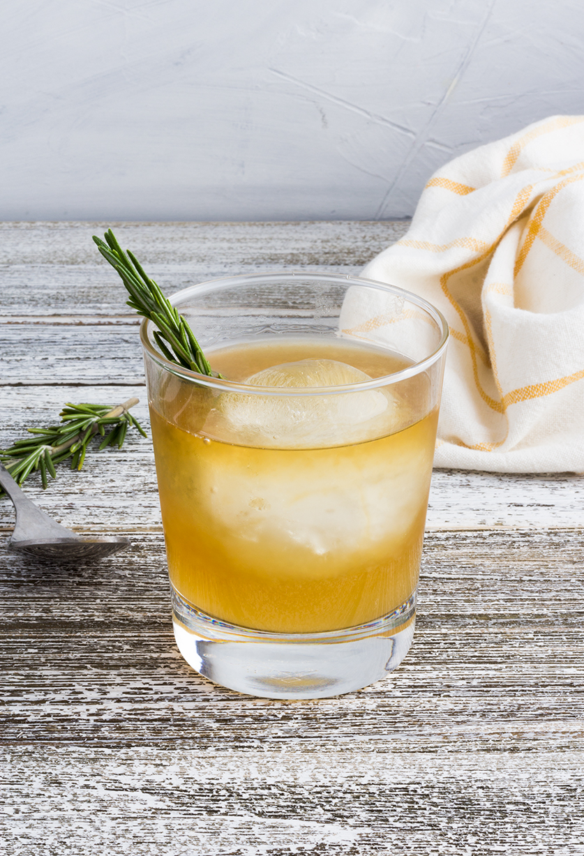 An easy and festive cocktail, this Meyer Lemon & Rosemary Bourbon Cocktail is perfect for all of your holiday parties.