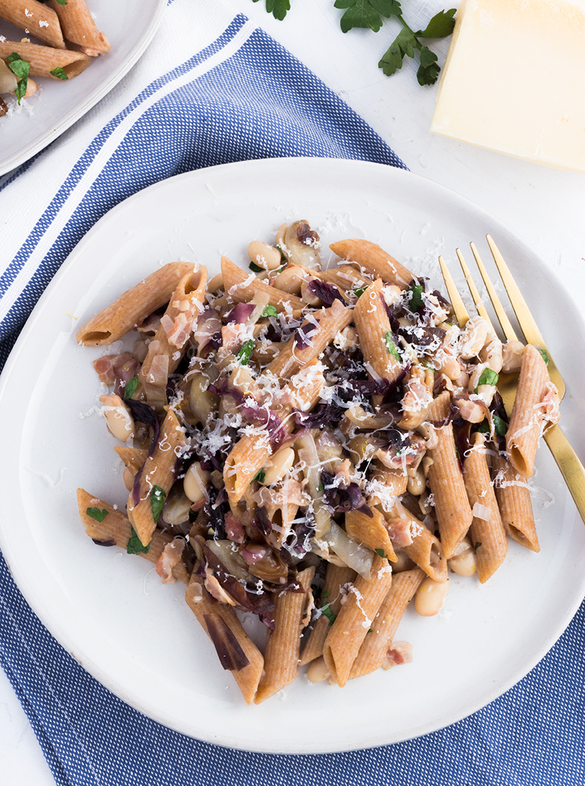 Perfect for any weeknight meal, this pasta features seasonal radicchio which pairs perfectly with the creamy white beans.