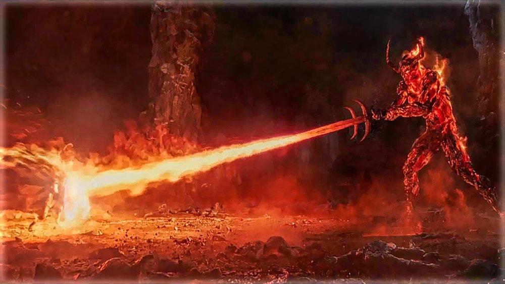 Hammer beats fire demon, apparently.