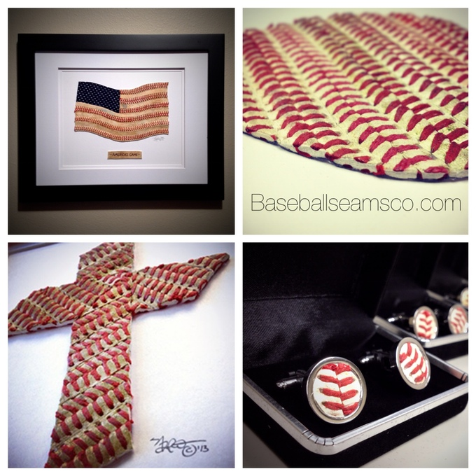 Examples of old, tattered baseballs being given new life through the form of artwork and accessories.