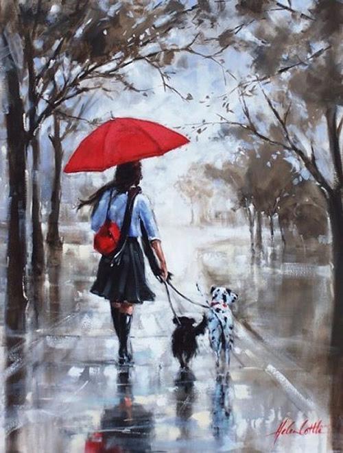 Girl with Red Umbrella Walking in Rain ~  Helen Cottle (1962)