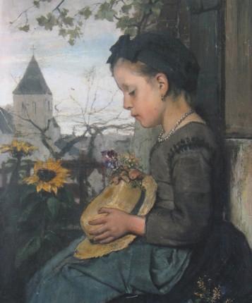 Niña sentada afuera de una casa ~ Jacob Maris (1876)