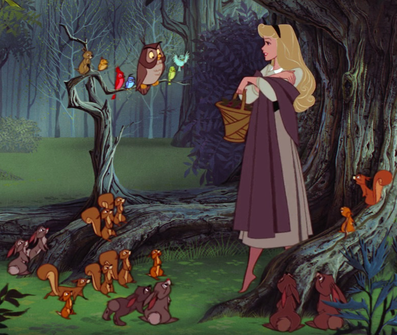 Aurora and her forest friends in Sleeping Beauty