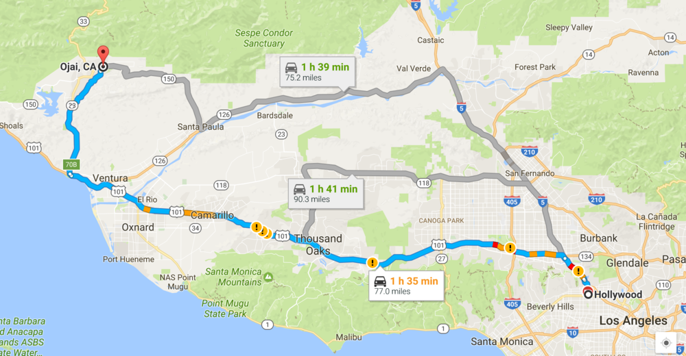 Our 1.5 hr drive from Hollywood to Ojai