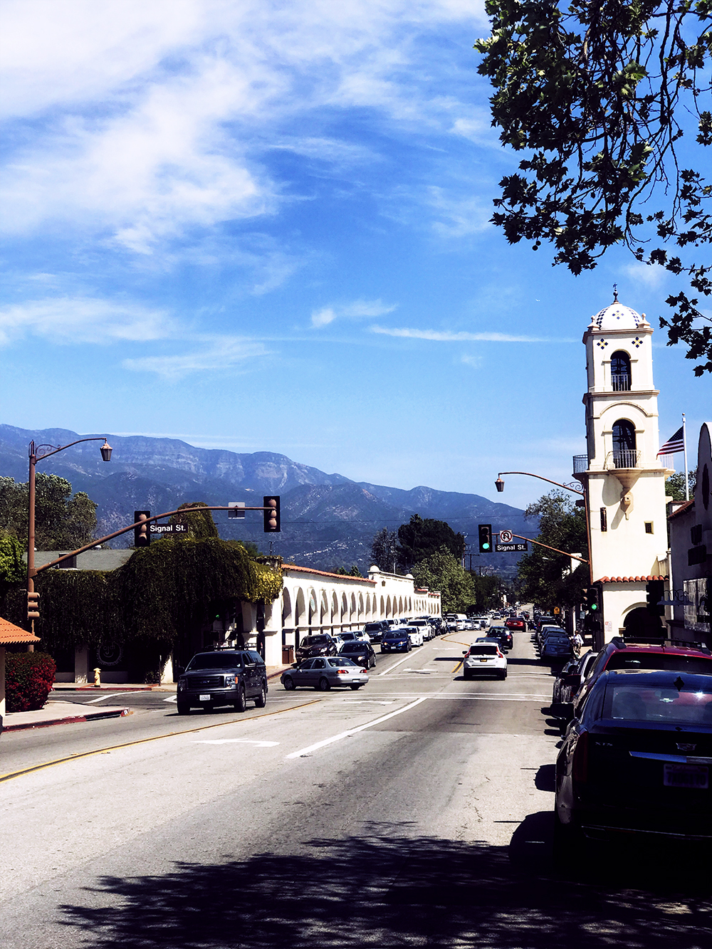 Looking down Ojai Ave in downtown Ojai