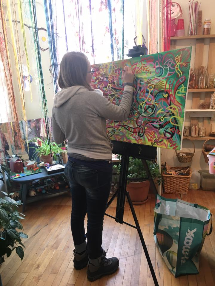 Last weekend I had so much fun painting at the  Community Art Garden  in Chester, VT. The space is open and bright with oodles of art supplies for anyone to try out during open studio. I am looking forward to doing more live painting sessions and we are setting up a Pet Portrait workshop in the near future.