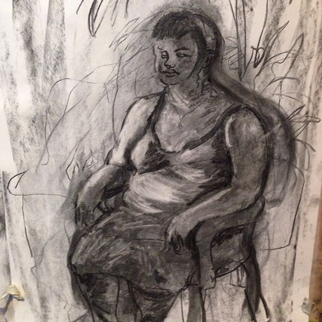 More from last week's class. Massive thank you to @jigglechick87 for posing and to everyone that came and made it such a lovely class. TODAY! Same place same time, Playing with Perspectives with @lucymcgeown  #drawing #lifedrawing #portraits #ldg #charcoal #portrait drawing #portraitclass #londonartists #london