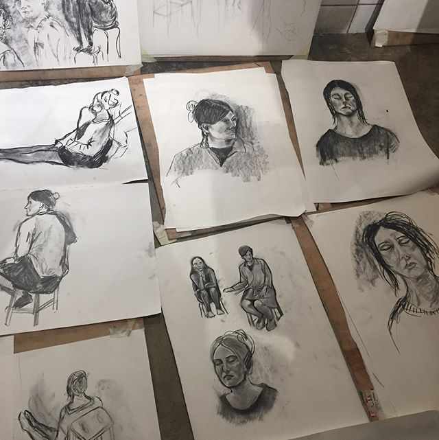 A big thank you to our wonderful students at yesterday's triple portrait class! It was great fun modelling for you-here's a selection of some of the work #art #lifedrawing #portraits #ldgbirthdayclass #drawing #charcoaldrawing #deptford #bustermantis