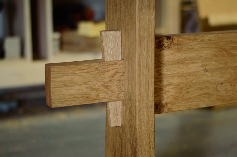 wedge bespoke oak table