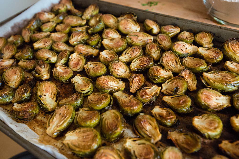Sweet and Savory Brussels Sprouts, hot out of the oven. (I like them a little over-crispy)