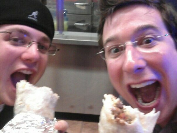 My brother Matthew and I chow down on some Carne Asada Super Burritos from Taqueria el Farolito in San Francisco.
