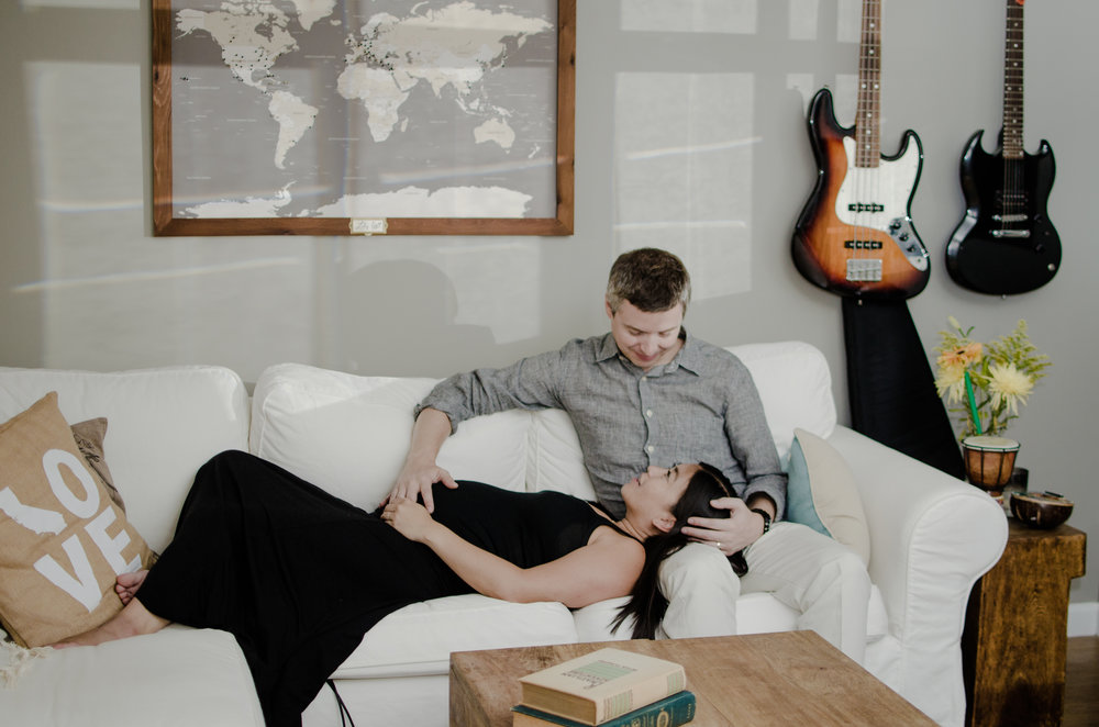 Ryan, Kim & baby bump chilling in their living room, 2015