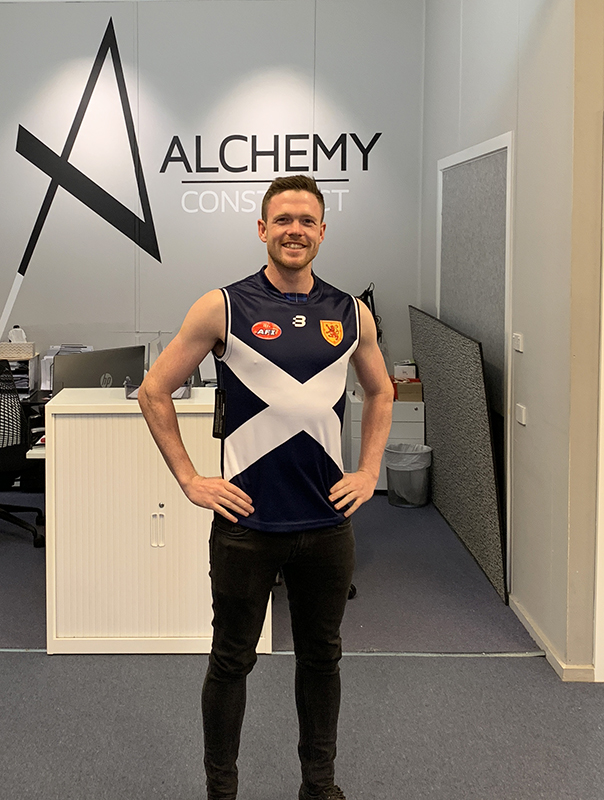 Our Project Manager, James wearing the AFI Harmony Cup jersey for team Scotland