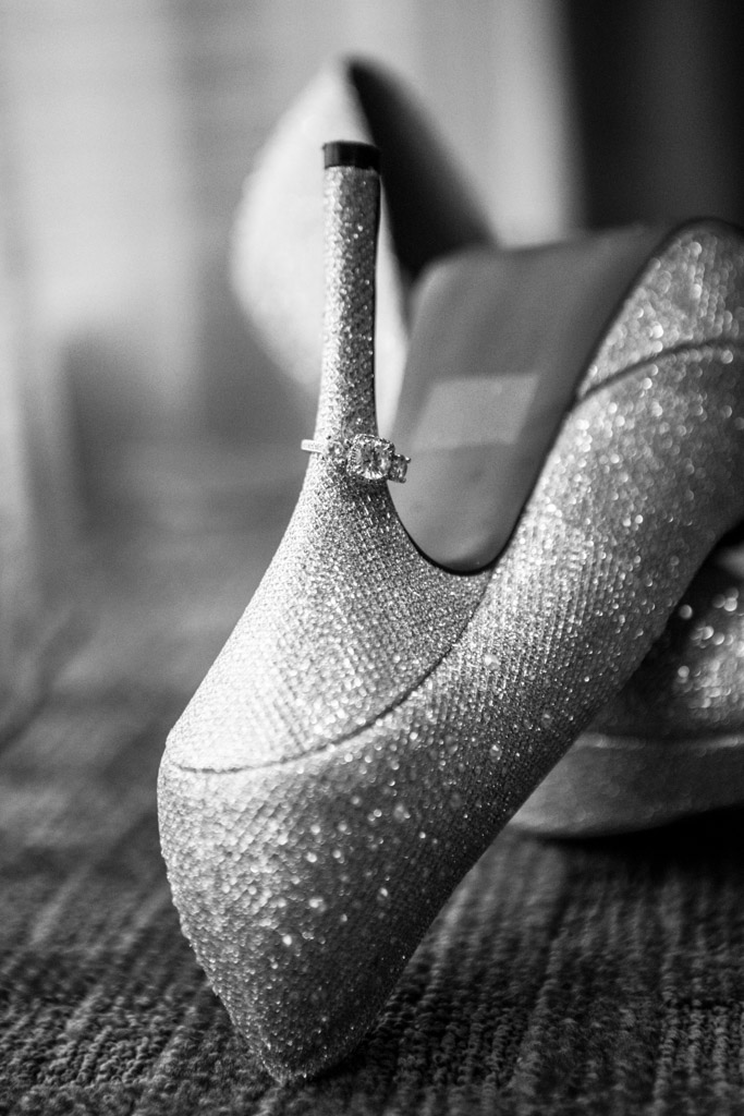 engagement ring and sparkly heels