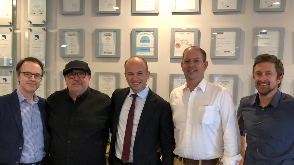 Minister Matt Kean (center) with (from left to right) Anthony Honeyfield, Murray Hunter (Founder of D+I), David Jones (Head of D+I) and Nathan Burke.
