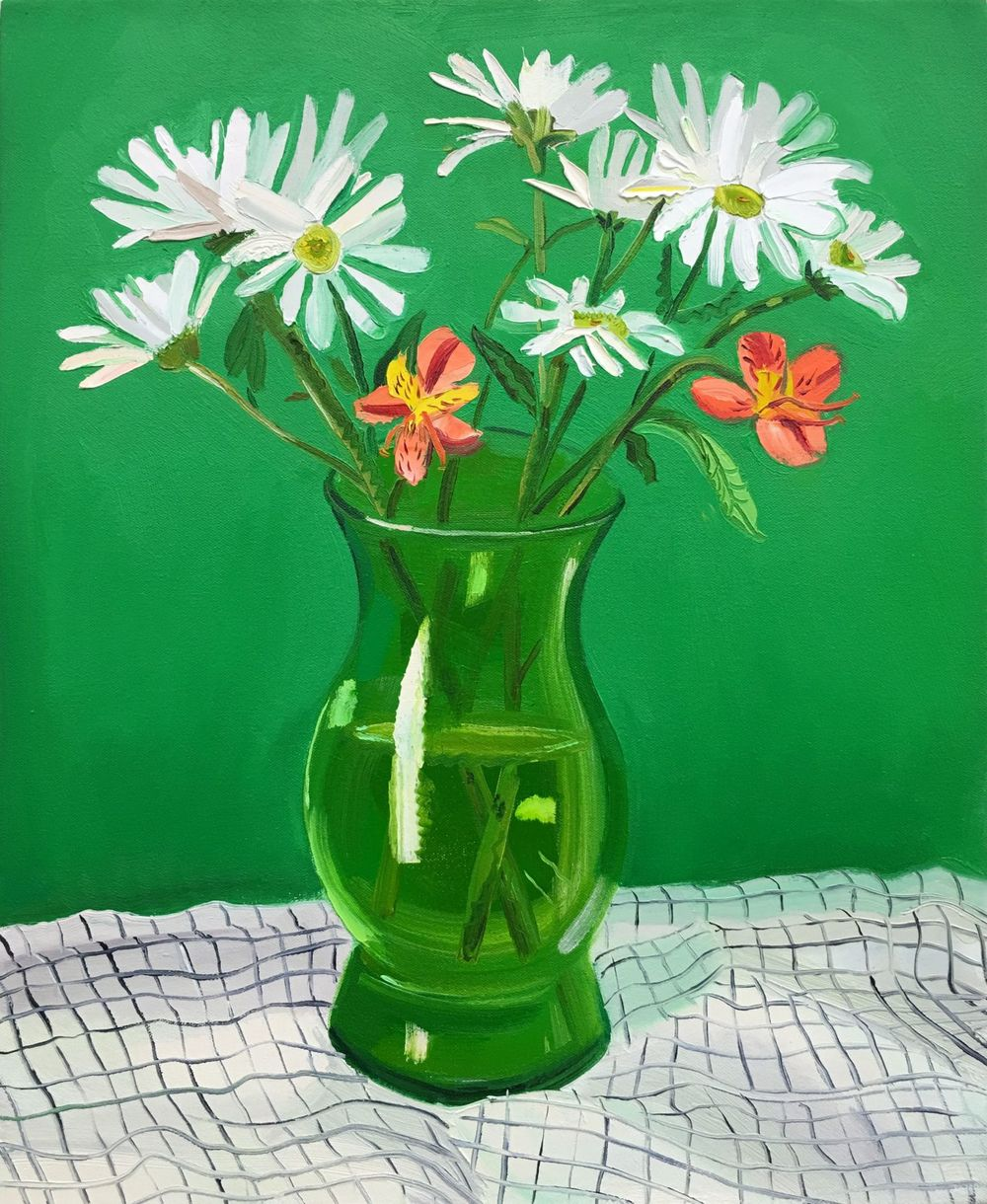 Green Vase,2016. Oil on canvas. 18 x 22 inches. by Nikki Maloof.