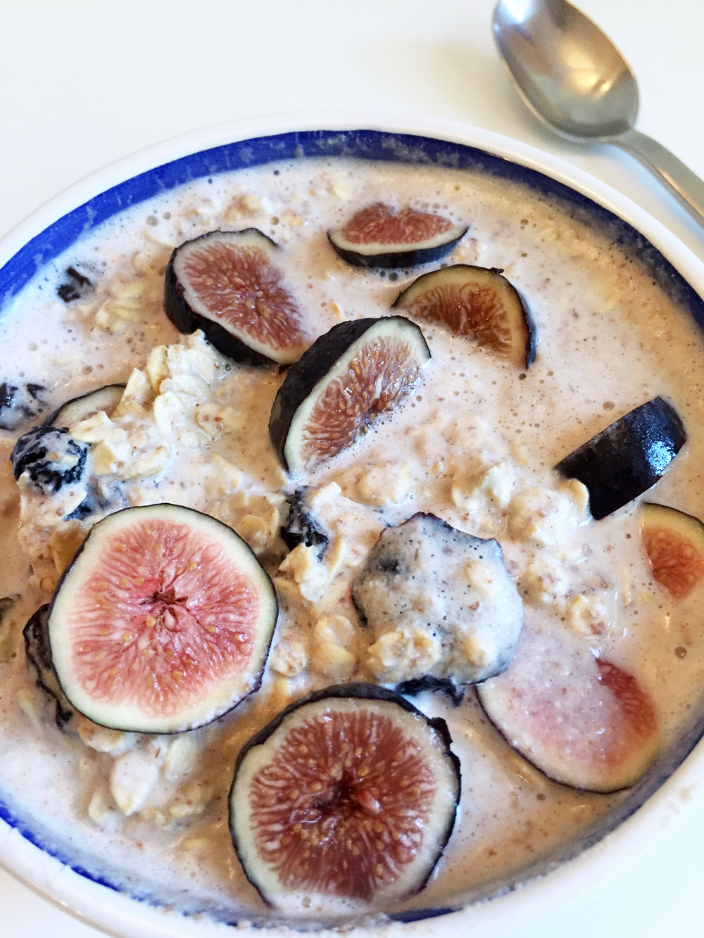 Muesli topped with fresh figs, another favorite