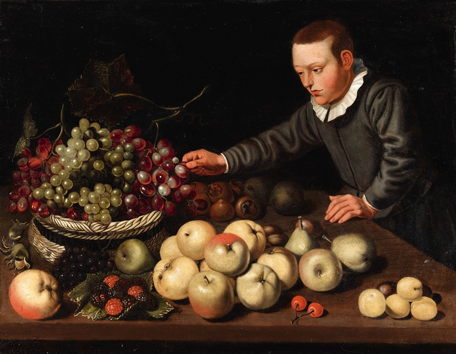 A Fruit Still Life with a Boy , oil on canvas, 57 x 74 cm, Floris van Shooten 1587-1665.