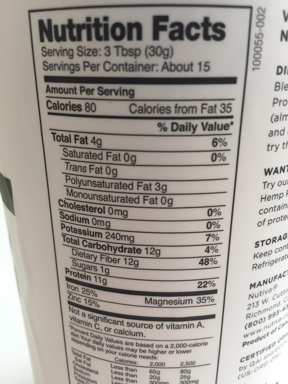 Nutiva Organic Hemp Protein ingredients