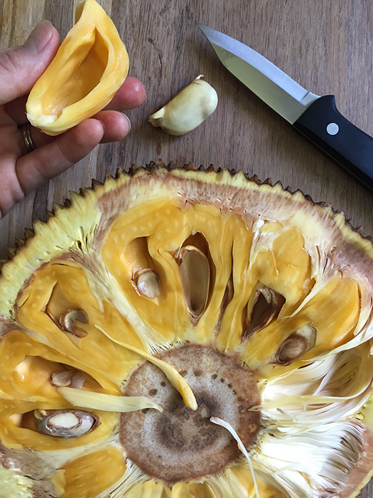 Remove the seeds from the fruit