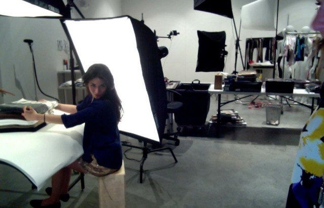 Alexandra at work in the studio