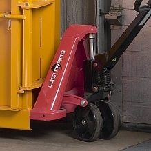 The baler is easy to move using a narrow pallet jack.