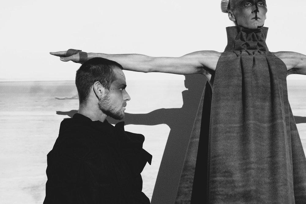 BRUTALIST #1 - MOTH &BRUTALIST #6.0 - TRAPEZIUM : pure wool flannel l lyocell l bonded thread l stainless steel studs: : : : : : : : : : : : : : photography : Kra Puru l models: Claudio Othel & Benjamin Hancock