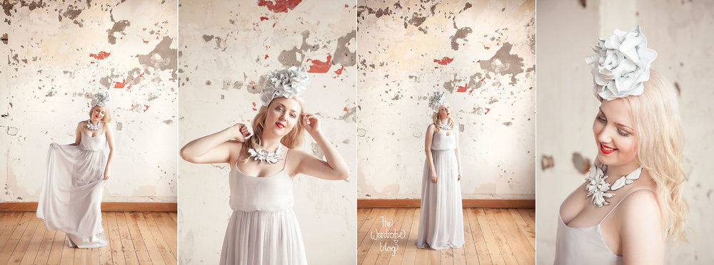 Gown from Hera Bridal in Silver, Headpiece and Necklace from Claire Hahn.