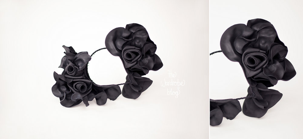 "Claire Hahn headband fascinator in black, from the ""Bloom"" collection, S/S '16."