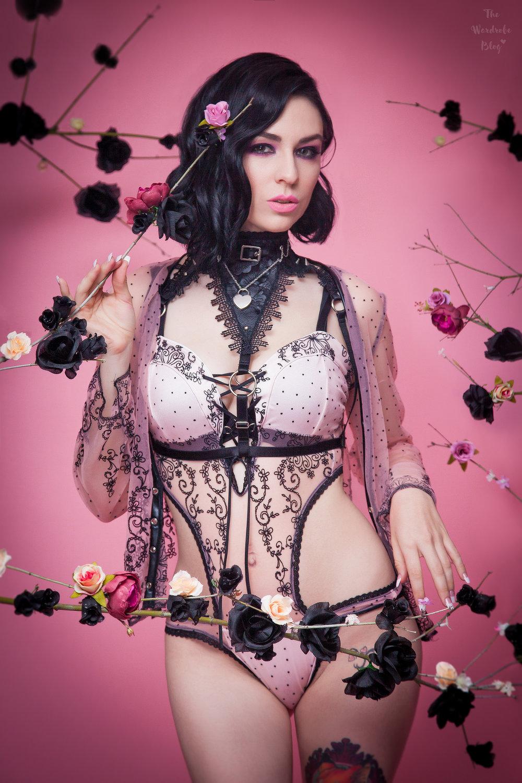 Nicole wears custom lingerie set by Forgotten Lockett. www.forgottenlockett.com