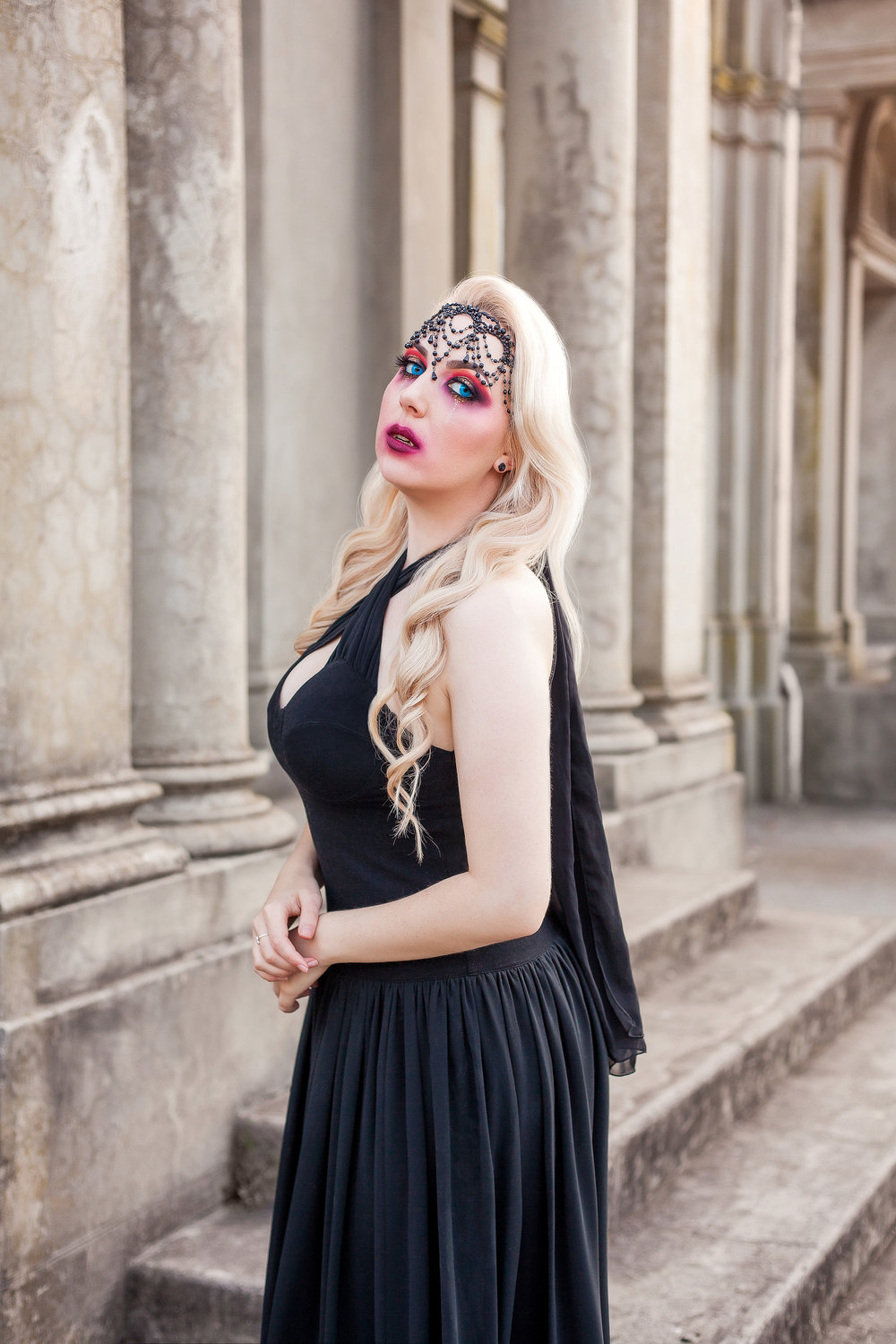Dress & Accessories: Thrifted and Vintage. Fangs and Contact Lenses from BodyFX