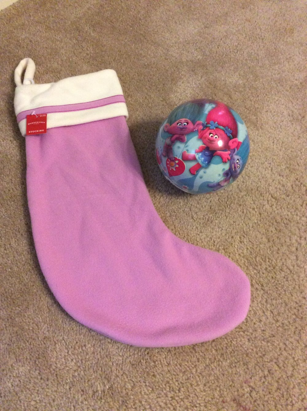 Stocking (Target $3.00) & Ball (Walmart $2.88)
