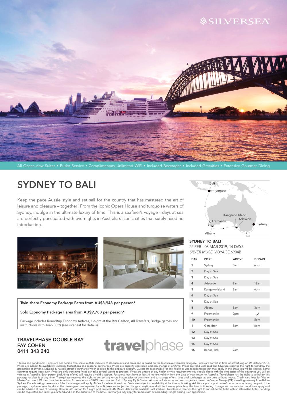 Silversea Muse Australian Cruise Details