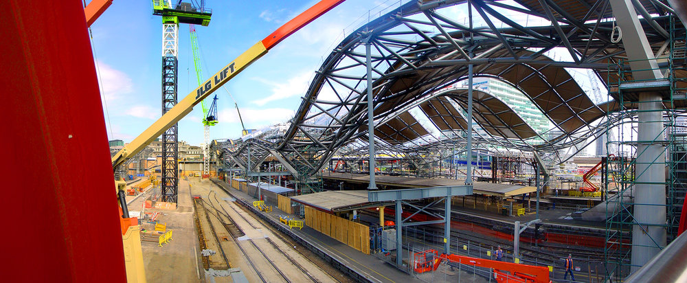 Construction of the Southern Cross Railway Station