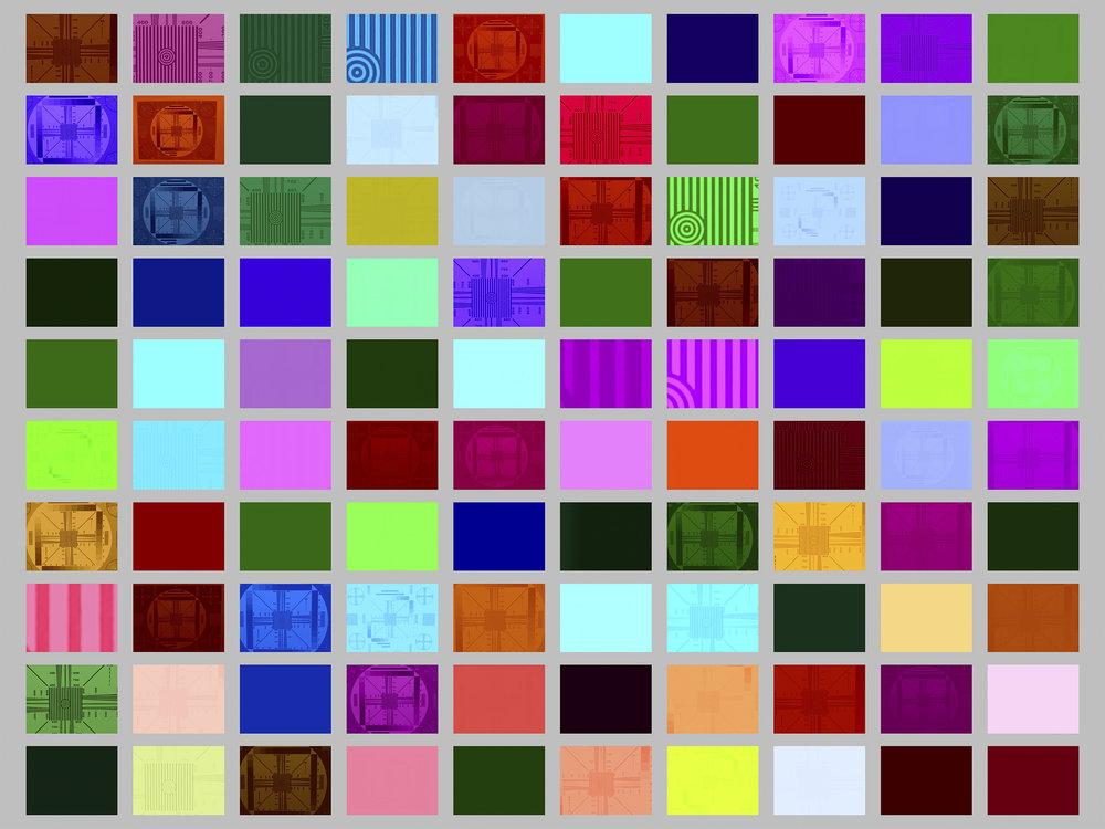 摄影校准表格,第16次试验,10x10方格展示,No.0-No.99