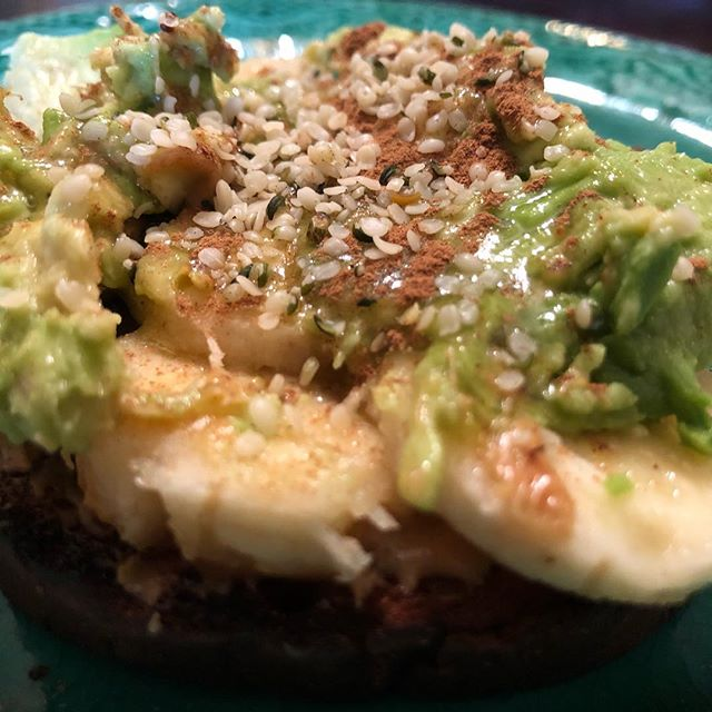 Easy. Quick. Awesome. Healthy. Satisfying.  GF organic bread, toasted  Organic raw Almond Butter 1/2 avocado 1/2 banana Cinnamon Hemp Seeds Optional: drizzle of coconut nectar  This is one of my favorite lunches of all time.